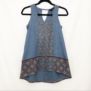 Max Jeans Hi-Low Embroidered Tank Top